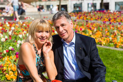 Mature couple during spring in the city Stock Photo