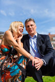 Mature couple during spring in the city Royalty Free Stock Image