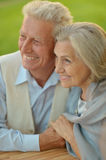 Mature couple in spring park Royalty Free Stock Photo