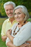 Mature couple in spring park Stock Image