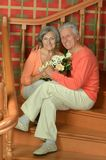 Mature couple on stairs Royalty Free Stock Photography