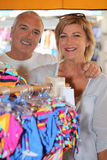 Mature couple in a store Stock Photos