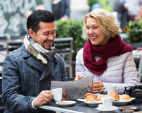 Mature couple at street cafe Royalty Free Stock Photography