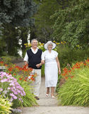 Mature Couple Strolling In Park Royalty Free Stock Photography