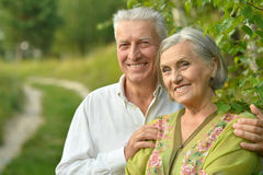Mature couple   in summer park Royalty Free Stock Photography