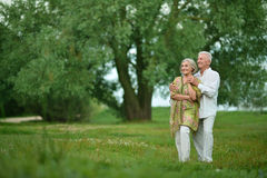 Mature couple on  in summer park Stock Photography