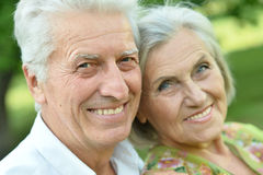 Mature couple on  in summer park Stock Image