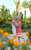Mature couple on  in summer park Stock Photo