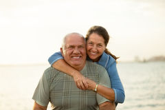 Mature couple   during sunset. Royalty Free Stock Photo