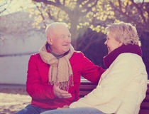 Mature couple talking in park. Senior couple sitting on bench and talking in park stock photography