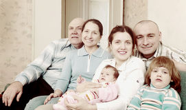 Mature couple with their offspring Royalty Free Stock Photos