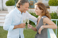 Mature couple on vinyard balcony. Royalty Free Stock Images