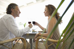 Mature Couple toasting and having lunch. Stock Images