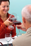Mature couple toasting with red wine Royalty Free Stock Image