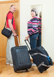 Mature  couple together with luggage Stock Photography