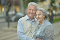 Mature couple in town Stock Photo