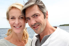 Mature couple on a trip to lake Royalty Free Stock Photos