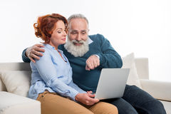 Mature couple using laptop Royalty Free Stock Image
