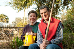 Mature Couple in the Vegetable Garden Stock Photography