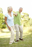 Mature couple walking in countryside Stock Images