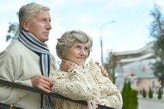 Mature couple walking Royalty Free Stock Images