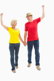 Mature couple walking and holding hands Royalty Free Stock Images
