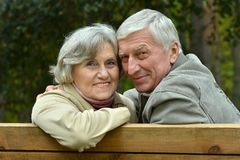 Mature couple walking in the park Royalty Free Stock Photography
