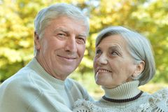 Mature couple walking in the park Stock Photography