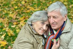 Mature couple walking in the park Stock Photo