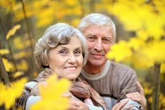 Mature couple walking in the park Stock Images