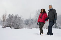 Mature couple walking through snow Stock Photo
