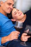 Mature couple wine Stock Image