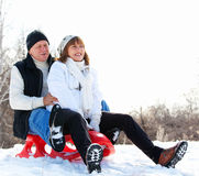 Mature couple in winter Royalty Free Stock Image