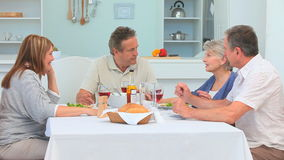 Mature couples having lunch together Royalty Free Stock Photography