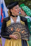 Mature dancer woman from Spain in traditional costume. TIMISOARA, ROMANIA - JULY 9, 2017: Mature dancer woman from Spain in traditional costume present at the royalty free stock images