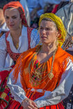 Mature dancer women from Portugal in traditional costume. TIMISOARA, ROMANIA - JULY 6, 2017: Mature dancer women from Portugal in traditional costume present at Royalty Free Stock Images