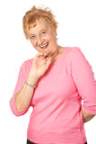 mature den röda stripy kvinnan Royaltyfri Bild