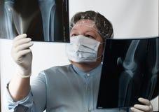 Mature doctor examining X-ray image Stock Photos