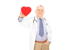 Mature doctor holding a small red heart Stock Photo