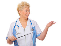 Mature doctor with pointer Stock Photo