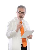 Mature doctor warns Stock Photo