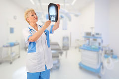 Mature doctor with x-ray Stock Photography