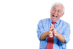 Mature, elderly man pointing and laughing at you Stock Photo