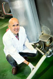 Mature employee working in raw milk sector Royalty Free Stock Image