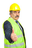 Mature engineer gives thumbs Stock Photos