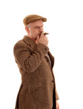 Mature English countryman smoking Royalty Free Stock Image