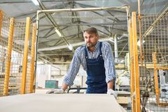 Mature Factory Worker Moving Materials stock image