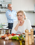 Mature family having quarrel Stock Photos