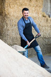 Mature farmer with big shovel in barn. Cheerful mature farm worker in apron holding big shovel on farm indoors Royalty Free Stock Photo