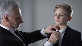 Mature father adjusting little sons tie, proud of kid, future business successor. Stock footage stock video footage